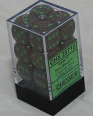 CHX 25710 - 12 Earth Speckled 16mm d6 Dice