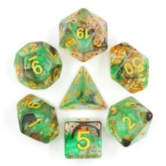 HDI-18 - 7 Green, Black & Red w/ Gold Translucent Particle Polyhedral Dice