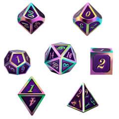 DAD525 - 7 Purple w/ Iridescent Metal Polyhedral Dice
