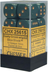 CHX 25615 - 12 Dusty Green w/ Copper Opaque 16mm d6 Dice