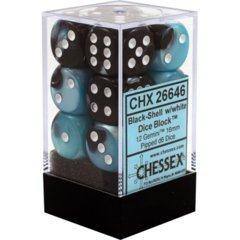 CHX 26646 - 12 Black-Shell w/ White Gemini 16mm d6 Dice