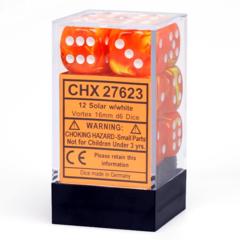 CHX 27623 - 12 Solar w/ White Vortex 16mm d6 Dice
