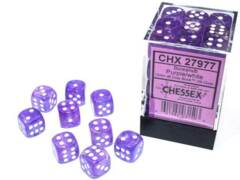 CHX 27977 - 36 Purple w/ White Borealis Glow-in-the-Dark Polyhedral Dice