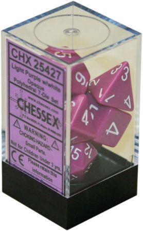 CHX 25427 - 7 Polyhedral Light Purple w/ White Opaque Dice