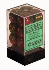 CHX 26634 - 12 Green-Purple w/ Gold Gemini 16mm d6 Dice