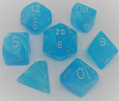 CHX 27566 - 7 Sky w/ Silver Luminary Polyhedral Dice