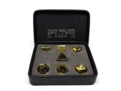 7 Polyhedral Polished Gold w/ Black Metal Dice