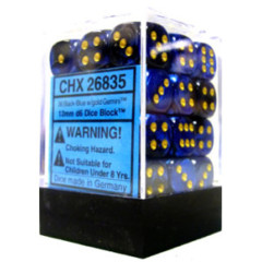 CHX 26835 - 36 Black-Blue w/ Gold  Gemini 12mm d6 Dice