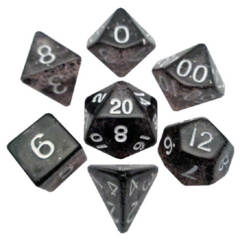 7 Polyhedral Ethereal Black w/ White Translucent Dice