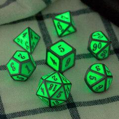 DAD538 - 7 Green w/ Silver Glow-in-the-Dark Metal Polyhedral Dice