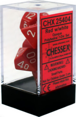 CHX 25404 - 7 Polyhedral Red w/ White Opaque Dice