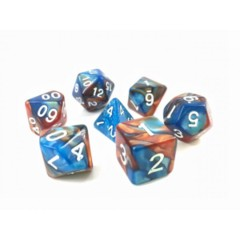 HDB-07 - 7 Blue & Copper w/ White Blended Polyhedral Dice