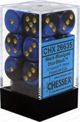 CHX 26635 - 12 Black-Blue w/ Gold Gemini 16mm d6 Dice