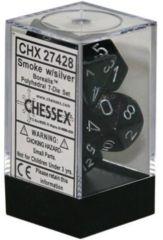 CHX 27428 - 7 Polyhedral Smoke w/ Silver Borealis Dice