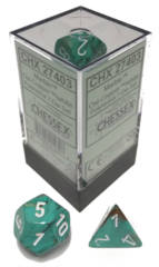 CHX 27403 - 7 Oxi-Copper w/ White Marble Polyhedral Dice