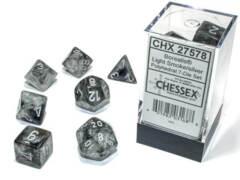 CHX 27578 - 7 Light Smoke w/ Silver Borealis Glow-in-the-Dark Polyhedral Dice