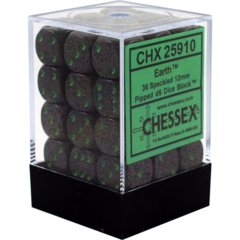 CHX 25910 - 36 Earth Speckled 12mm d6 Dice