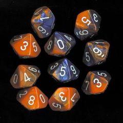 Blue-Orange/White Gemini D10 Ten Set