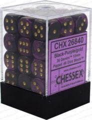 Black Purple w/Gold Gemini 12mm D6 (36)