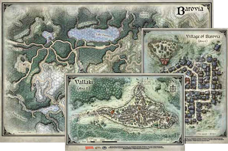 Dungeons and Dragons RPG: Curse of Strahd - Map Set (24in x16in, 14in x 9in, 13in x10in)