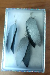 Faux Leather Necklace/Earring Set, Silver Plate Chain