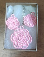 Embroidered Necklace/Earrings, Silver Plate Chain, Mixed Designs