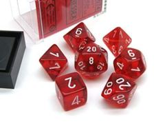 Translucent Polyhedral Red/white 7-Die Set 23074