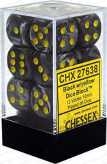 D6 Dice Vortex 16mm Black/Yellow (12 Dice in Display) - CHX27638