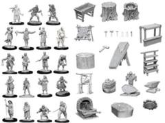 WizKids Deep Cuts Unpainted Miniatures Townspeople Accessories