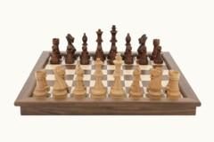 Dal Rossi Chess Set folding walnut, inlaid, 44cm