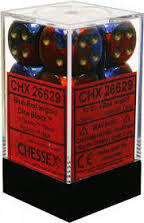 Chessex 26629 Dice d6 Set: Blue-Red /Gold - 16mm Six Sided Die (12) Block of Dice