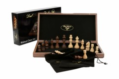 Dal Rossi Chess Set, folding, walnut inlaid, 12
