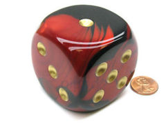 50mm d6 w/pips Black-Red w/gold - DG5033