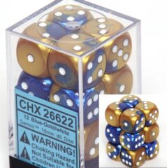 Chessex 26622 Dice d6 Set: Blue-Gold/White - 16mm Six Sided Die (12) Block of Dice