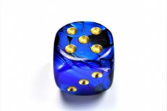 Gemini® 50mm w/pips Black-Blue/gold d6 DG5035