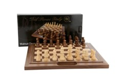 Dal Rossi Chess Set walnut folding bevelled edge, with handle, 40cm