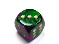 Gemini® 30mm w/pips Green-Purple/gold d6 DG3034
