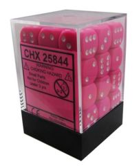 Opaque 12mm d6 Pink/white Dice Block™ (36 dice) 25844