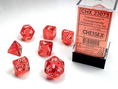 Polyhedral 7-Die Set Translucent Orange /White