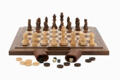 Dal Rossi Chess / Checkers / Backgammon,folding walnut, 40cm