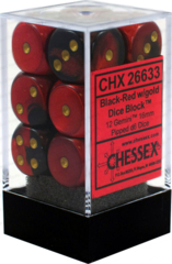 Chessex 26633 Dice d6 Set: Black Red with Gold - 16mm Six Sided Die (12) Block of Dice