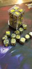 Games Cube Dice Black with Yellow