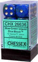 Chessex 26636 12 Blue-Green/Gold Gemini 16mm d6