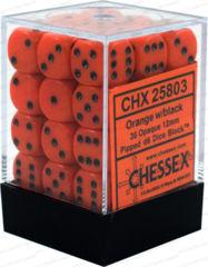 Opaque 12mm d6 Orange/black Dice Block™ (36 dice) 25803