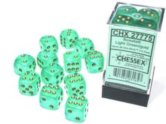 16mm D6 Dice Block Borealis Luminary Light Green/Gold