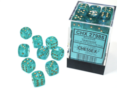 Borealis® 12mm d6 Teal/gold Luminary™ Dice Block™ (36 dice)   27985