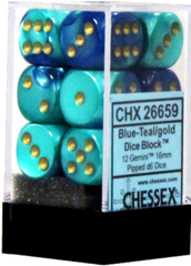 Chessex 26659 Gemini 16mm D6 Blue-Teal w/ Gold Set of 12