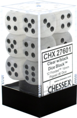 Chessex Dice CHX 27601 Frosted 16mm D6 Clear w/ Black Set of 12