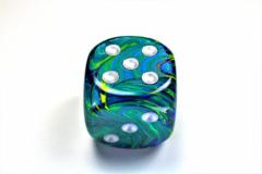 Festive® 50mm w/pips Green/silver d6  DF5065