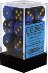 Chessex 26635 Dice d6 Set: Black Blue with Gold - 16mm Six Sided Die (12) Block of Dice